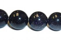 Blue Goldstone (Man Made) Smooth Round Gemstone Beads