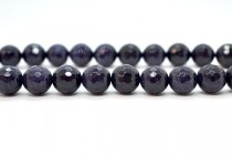 Blue Goldstone (Man Made) Disco Cut Faceted Round Gemstone Beads