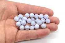 Blue Lace Agate (Natural) Smooth Round Gemstone Half Drilled Beads