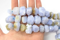 Blue Lace Agate (Natural) Large Faceted Nugget Gemstone Beads