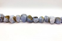 Blue Lace Agate ( Natural) A Grade Faceted Nugget Gemstone Beads