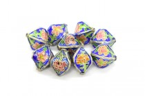 Cobalt Blue & Silver Cloisonne Lantern Beads with Pink Flowers CL-199