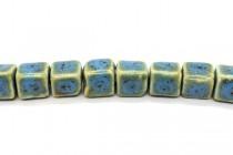 Aqua Blue Glazed Porcelain Cube Beads