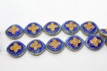 Enamel Cobalt Blue & Orange Quatrefoil Beads - Oval / Diamond shape
