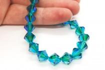 Blue Zircon AB2x Swarovski Crystal Bicone Beads 5301/5328