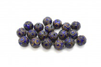 Cobalt Blue & Red Cloisonne Round Beads with Circle Design CL-206