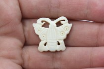 Bead, Bone, (Bleached) , White, Carved Butterfly, 12mm