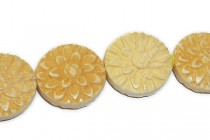 Bone Carved Bead, ( Dyed ) Flower Design, dime shape, 17mm
