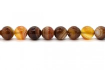 Brown & Gold Botswana Agate (Natural) Faceted Disco Cut Round Gemstone Beads
