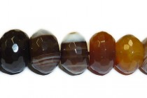 Botswana Agate (Natural) Faceted Rondelle Gemstone Beads