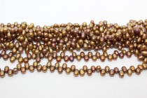 Bronze (Dyed) Top Drilled Oval/Rice Freshwater Pearl Beads