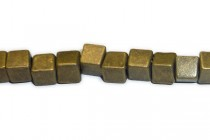 Antique Brass Plate Over Pewter Cube Bead