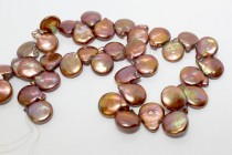 Brown Bronze (Dyed) Top Drilled Coin Freshwater Pearl Beads
