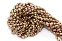 Bronze (Dyed) Oval/Rice Freshwater Pearl Beads