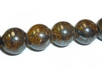 Bronzite (Natural) A Grade Big Hole Round Gemstone Beads