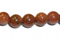 Brown Goldstone (Man Made) Big Hole Round Beads