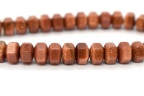 Brown Goldstone (Man Made) Six Sided Drum Gemstone Beads