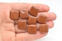 Brown Goldstone (Man Made) Pillow Gemstone Beads