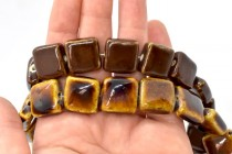 Brown Glazed Porcelain Beads - Flat Square