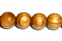 Wood Big Hole Round Bead - Light Brown With Brown Banding