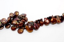 Dark Bronze (Dyed) Top Drilled Coin Freshwater Pearl Beads