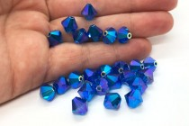 Capri Blue AB2x Swarovski Crystal Bicone Beads 5301/5328 - Factory Pack