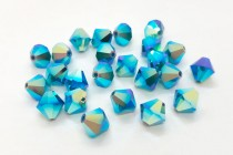 Caribbean Blue Opal AB 2X 5301 Swarovski Elements Crystal Bicone Bead