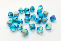 Caribbean Blue Opal AB2x Swarovski Crystal Bicone Beads 5301