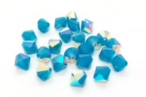 Caribbean Blue Opal AB Swarovski Crystal Bicone Beads 5301