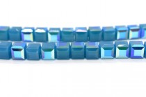 Caribbean Blue Opal AB 5601 Swarovski Elements Crystal Cube Bead