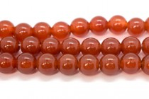 Carnelian (Dyed/Heated) Smooth Round Gemstone Beads - Large Hole