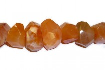 Carnelian Faceted Nugget Gemstone Beads - Natural
