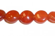 Carnelian (Dyed/Heated) Coin Gemstone Beads with Rounded Edges