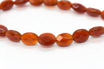 Carnelian (Dyed/Heated) Faceted Flat Oval Gemstone Beads