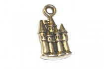 Charm, Castle, TierraCast®: ,antique silver - plated pewter (tin-based alloy), 11mm.
