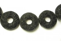 Black Cinnabar (Imitation) Carved Open Circle Beads