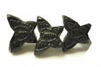 Black Cinnabar (Imitation) Carved Butterfly Beads