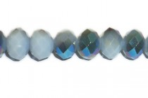 Grey Opaque Blue Metallic Chinese Crystal Rondelle Glass Beads