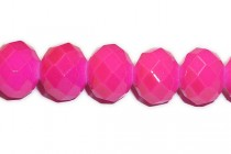 Neon Pink Chinese Crystal Rondelle Glass Beads - Opaque