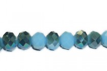 Blue Turquoise Satin Chinese Crystal Rondelle Glass Beads - Opaque