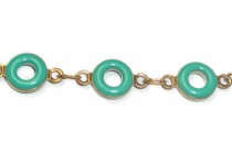 Beaded Chain (Victorian Look) Jade Green Enamel Circle with Brass Bezel - 6mm