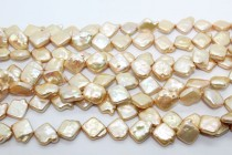 Champagne (Dyed) Diagonally Drilled Square Freshwater Pearl Beads