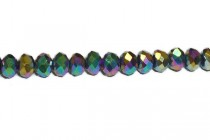 Green/Purple/Yellow Metallic Opaque Chinese Crystal Rondelle Glass Beads