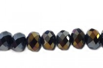 Blue Dark Metallic Gold AB Chinese Crystal Rondelle Glass Beads - opaque
