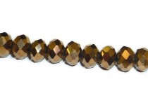Bronze Metallic Opaque Chinese Crystal Rondelle Glass Beads