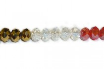 Gold / Red / Clear Chinese Crystal Rondelle Glass Beads