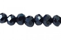 Blue Dark Navy Metallic Chinese Crystal Rondelle Glass Beads - opaque