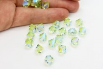Chrysolite AB 2x 5301 Swarovski Elements Crystal Bicone Bead