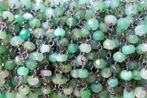 Chrysoprase( Natural ) Faceted Rondelle Wire Wrapped Beaded Chain Gunmetal plate over copper