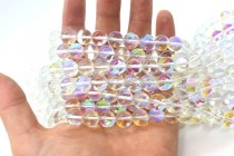 Clear AB Fused Glass Smooth Round Beads